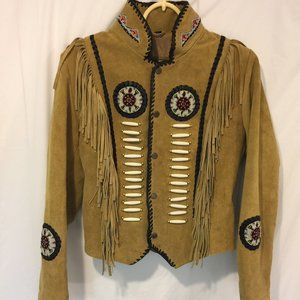 Suede Leather Indian Beaded Jacket Size M